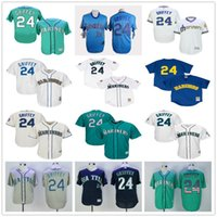 Wholesale Bat Xl - Seattle Mariners #24 Ken Griffey Jr Gray Blue Cream White Green Navy Cooperstown Mesh Batting Practice Jerseys w 2016 Hall Of Fame Induction