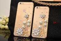 Wholesale Crystal Bowknot Iphone - Luxury Bling Crystal Diamond Bowknot Case TPU+PC Phone Cover For iPhone 6 6S Plus Samsung Galaxy S6 S7 Edge