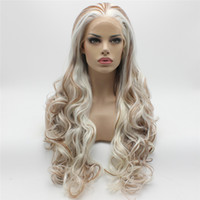 auburn medio ondulado pelucas al por mayor-Iwona Hair White Auburn Mix Peluca ondulada larga 5 # 1001/30 Mitad mano atada Peluca delantera del cordón sintético a prueba de calor
