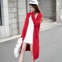 siyah tığ işi süveter toptan satış-Toptan-Gri Siyah Kırmızı Ücretsiz Kargo Hırka Kadın Kazak rahat Tığ Panço Artı Boyutu Ceket Kadınlar uzun Kazak vestidos Cardigans