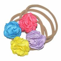 Wholesale Singed Flowers - free shipping 50pcs lot Elastic Spandex Nylon Headband with 1.97inch Singed Satin Flowers Girl Beautiful Headwear DIY Boutique FD249