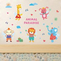 Wholesale funny countries - Wall Sticker Pastoral Style Decal Cartoon Animal Park Deer Elephant Rabbit Funny Party Creative Mural Home Decor 2 5fj F R