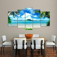 Wholesale Large Oil Paintings Decor - Framed 5 Panel Wall Art Oil Painting On Canvas blue sky and white clouds sea Paintings Pictures Decor painting large living room