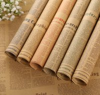 Wholesale Newspaper Wrapping - 50pcs lot Newspaper Decoration Wrapping Paper Wrap Gift Wrap Double Sided Christmas Party Decor Vintage Kraft Paper