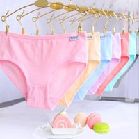 Wholesale Hot Girl White Panties - 12pcs lot Hot Candy Color Sexy Female Underwear Women's Cotton Panties Lady Breathable Underpants Girls Briefs free shipping