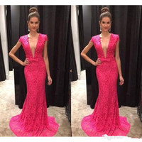 Wholesale Jacket Dresses High Necklines - Vestido de Fiesta Sexy Fuchsia Lace Mermaid Evening Dresses Plunging Neckline Short Sleeves Prom Gowns Customize Robe de Soiree