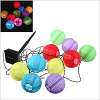 Wholesale Long String Led Christmas Lights - Outdoor LED Solar Lamps Solar Powered Chinese Lanterns 10pcs Mini Colorful Lantern String Lighting Garden Christmas Decoration Lamp 5M long