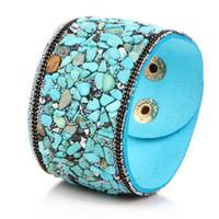 Wholesale Turquoise Gravel - Fashion women jewelry leather irregular turquoise gemstone natural crystal gravel stone multicolor statement bracelet bracelets BJ19531