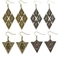 Wholesale Golden Rhombus - idealway Vintage Style Alloy Silver Golden Rhinestone Carving Flower Triangle Rhombus Geometry Drop Dangle Stud Earrings