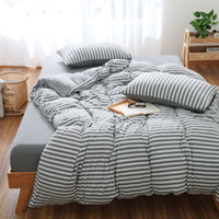 Wholesale Xinjiang Tianzhu naked cotton knitted four sets of simple solid color stripe m Single Bed Duvet Cover