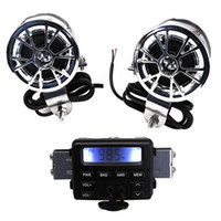 Wholesale Motorcycle Radio Mp3 Player - LED FM Motorcycle Radio Mp3 Speaker Audio Player Stereo + 2 Speakers Waterproof