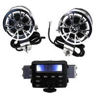 motocicleta rádio mp3 player venda por atacado-LED FM Motocicleta Rádio / Mp3 Speaker Stereo Player de Áudio + 2 Alto-falantes À Prova D 'Água Acessórios Da Motocicleta