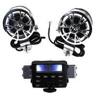ingrosso stereo stereo audio-LED FM Radio moto / Mp3 Altoparlante Audio Player Stereo + 2 altoparlanti Accessori moto impermeabile