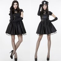 Wholesale Sexy Policewoman Costume - Edward Scissorhands Movie Role Costume Policewoman Hansom Cosplay Sexy Dresses Performance Clothing Bar Clothing Black With Hat