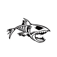 Wholesale Sticker Tribal - Hot Sale Mouth Skeleton Tribal Fish Vinyl Decal Kayak Fishing Truck Boat Car Styling Stickers Car Window Bumper Jdm