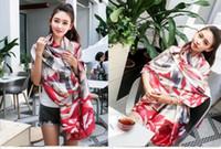 Wholesale Europe Long Ponchos - New Women Scarves Silk Wraps Shawls Pashmina Scarf Painting Long Scarves Shawls for Women Soft Europe America Fashion Style Scarf 180cmx90cm