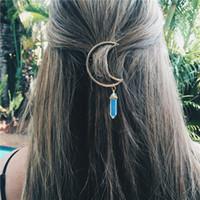 Wholesale Hair Stones - European Style Women Fashion Moon Charm Hair Clip Natural Stone Hexagon Prism Pendant Barrettes Hair Accessories A289