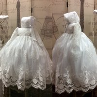 Wholesale Vintage Girls Bonnets - Lace Ball Gown Baby Christening Dress White Baptism Outfits With Long Sleeves Formal Infant Girl First Communion With Bonnet