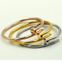 Wholesale Bracelet Sets Coloured - Fashion New Three colour 18k gold 316L stainless steel screw bangle bracelet with screwdriver and original box screws never lose