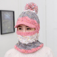 Wholesale adjustable riding hat online - 2017 Headgear Women s Wool Hat One piece Bantle Collage Winter Girl Winter Warmer Riding Knit Hat Head Warmer