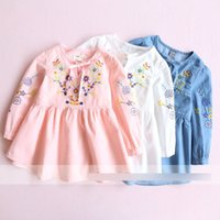 Wholesale Wholesale Denim Floral Shirt - Girls denim dress shirt girls floral embroidery lace-up bows princess tops flowers kids long sleeve blouses 2017 girl spring clothing T3394