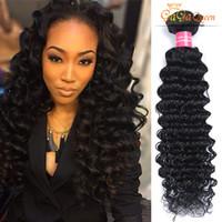 Wholesale Brazillian Deep Wave Human Hair - Unprocessed Peruvian Malaysian Indian Brazillian Curly Hair Extensions Brazilian Deep Wave Curly Virgin Human Hair Weaves Bundles No Tangle