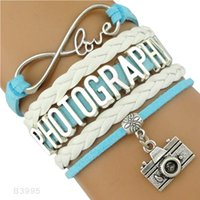 Wholesale Camera Charms For Bracelets - (10 Pieces Lot) Infinity Love Photography Camera Charm Leather Wrap Bracelets For Women Men Gifts Jewelry Drop Shipping