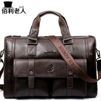 "Wholesale Large Gray Leather Handbag - BailiLaoRen Business Briefcase Leather Man 14-15"" Laptop Handbags Large-Capacity Travel Men's Messenger Crossbody Bag P083"