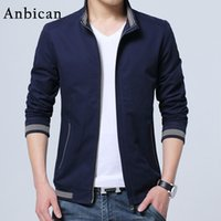 Wholesale Mens Fitted Casual Coats - Wholesale- Anbican Fashion Mens Spring Jacket 2017 Brand New Stand Collar Classic Blue Coat Men Slim Fit Casual Jackets Plus Size 4XL 5XL