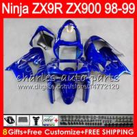 Wholesale 99 Silver - 8Gifts 23Colors For KAWASAKI NINJA ZX900 ZX9R 98 99 00 01 900CC 48HM23 Silver flames ZX-9R ZX 9 R ZX900C ZX 9R 1998 1999 2000 2001 Fairing