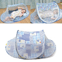 Wholesale Mini Travel Safe - Wholesale-Foldable Blue Baby Mosquito Tent Travel Infant Bed Net Instant Crib Polyester Mesh New Portable Safe Travel Mini Tent