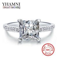 Wholesale Engagement Ring Diamond Genuine - YHAMNI Original 100% Genuine 925 Sterling Silver Rings For Women Square Diamond Engagement Ring Jewelry MR079