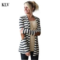 Wholesale Wholesale Womens Cardigans - Wholesale- 2017 Fashion Outerwear Women Long Sleeve Stripped Casual Strip Patchwork Womens Cardigans Coat Sweater For Women Chaqueta Oc26