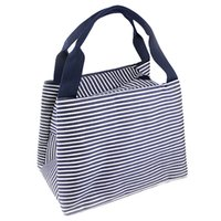 Wholesale red lunch - Wholesale- DSGS Stripe Lunch Box Carry Bag for Travel Picnic Bags
