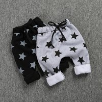 Wholesale Kid Stars Print Harem Trouser - Kids clothing Pants Winter Boys Stars Harem PP boy pant fleece warm trousers Elastic waist Ins boys Children clothes 2016 wholesale 2-7year