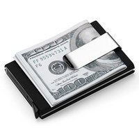 Men cash business - High QualitId Men Wallets Credit card holder Automatic card sets business aluminum wallet card sets cash metal clip holder