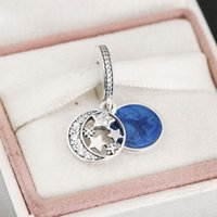Wholesale Cz Blue Pendant - 2016 Winter Vintage CZ Stars Moon Night Sky Pendant Charms 925 Sterling Silver Blue Enamel Round Dangle Beads For Women Bracelet