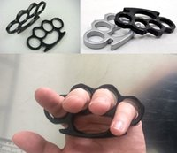 Wholesale brass knuckle dusters shipped for sale - Black and Silver Thin Steel Brass knuckle dusters Self Defense Personal Security Women and Men self defense Pendant DHL