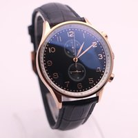 Wholesale Promotional Leather - Promotional luxury classic brand IW Portugal 371417 series black leather strap black dial 45MM gold steel bezel quartz chronograph watch
