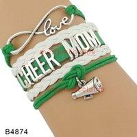 Wholesale Cheer Horns - Customizable Infinity love cheer mom Bracelet horn charm Bracelet green white leather custom Any Themes Drop shipping