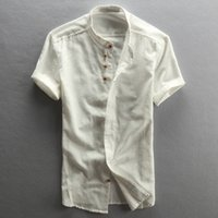 Wholesale Slim Shirts Asian - Men's Cotton Linen Casual Slim Shirts Short Sleeve China Style Stand Collar Shirts Male Summer Fashion Shirts Asian Size TS-188