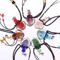 Wholesale Glass Aromatherapy Pendant Wholesale - 2017 Essential oil diffuser bottle pendant necklaces For women Glass perfume bottle lockets female aromatherapy necklace Jewelry Gift
