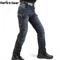 Wholesale Motorcycle Army Combat Men S - New IX7 SWAT Military Style Cargo Jeans Men Casual Motorcycle Denim Biker Jeans Stretch Multi Pockets Tactical Combat Army Jean 17416