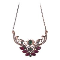 Vente en gros- Marque Turkish Design Flower Crown Queen Collier Antique Gold Plated Thin Chain Red Acrylic Pendants Vintage Party Women Jewelry
