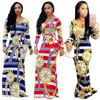 Wholesale Maxi Dresses Silk Chiffon - African Design Chain Print Striped Maxi Dress 2017 Winter New Long Sleeve O Neck Sashes Bodycon Long Dress Elegant Women Party Dresses