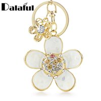 Wholesale novelty led key chain resale online - beijia Novelty Shell Petals Daisy Double Flower Floral Crystal Rhinestone Keyrings Key Chains Holder Women Keychains K245