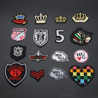 Wholesale Iron Patches Crowns - 10pcs Iron On Patch For Clothing Crown Heart Mickey Punk Patches Military parches Embroidered Jacket Jeans Patchwork Biker Badge Appliques