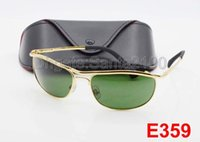 Wholesale Uv Gold - 1pcs High Quality UV Protection Sport Sunglasses For Men Designer Brand Sun Glasses Gold Frame Green 62mm Glass Lenses With Box And Case