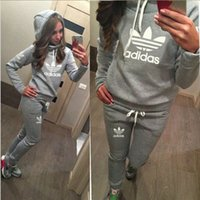 Wholesale Women S Clothing Tracksuits Suits - Hot! Women Sport Suits Printed Fall Tracksuits Long-sleeve Casual Sportwear Costumes 2 Piece clothing set Hoodies Sweatshirt