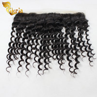 Wholesale deep wave closure side part resale online - Top Grade Deep Wave Brazilian Virgin Hair x4 Lace Frontal Closure Malaysian Indian Peruvian Human Hair Lace Frontal With Baby Hair